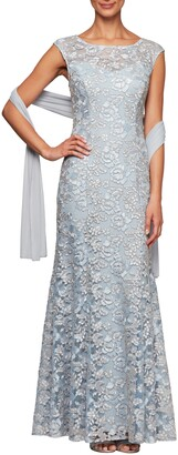 Alex Evenings Floral Embroidered Evening Gown with Wrap