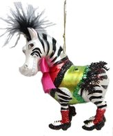 """5"""" Zebra Wearing Bow Shoes Whimsical Glass Christmas Ornament"""