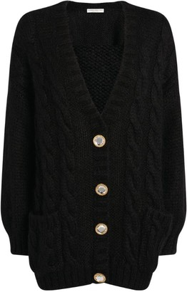 Alessandra Rich Buttoned Cable-Knit Cardigan