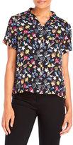 Yumi Scribble Floral Print Crepe Shirt