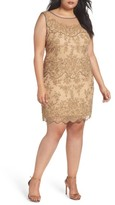 Pisarro Nights Plus Size Women's Illusion Neck Beaded Cocktail Dress