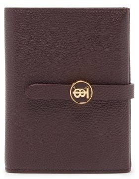 Burberry Tb Monogram Grained Leather Wallet - Womens - Brown