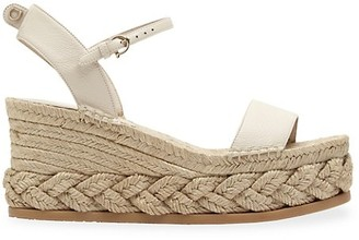 Salvatore Ferragamo Thea Leather Espadrille Platform Wedges