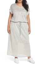 Plus Size Women's Caslon Linen Knit Pocket Maxi Dress