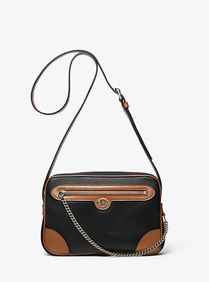Michael Kors Monogramme Two-Tone Leather Crossbody Bag - Black