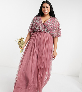 Maya bridesmaid cape detail wrap maxi dress in delicate sequin with tulle skirt in rose