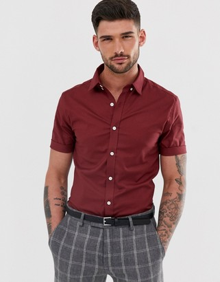 New Look oxford shirt in muscle fit in burgundy-Red