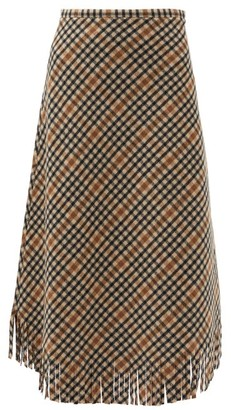 Sara Lanzi Checked Brushed Wool-blend Skirt - Black Cream