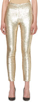 Carolina Herrera Sequined Slim-Leg Ankle Pants, Gold