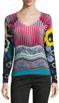 Etro Mixed-Print V-Neck Sweater, Pink/Turquoise
