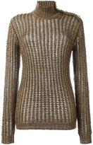 Balmain ribbed open knit jumper - women - Mohair/Polyester/Polyamide/Wool - 40