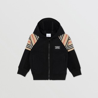 Burberry Icon Stripe Panel Cotton Hooded Top