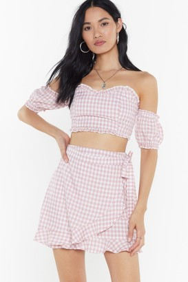 Nasty Gal Womens Wrapping On The Job Gingham Mini Skirt - Pink - 6, Pink