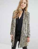 MANGO Faux Fur Leopard Print Coat