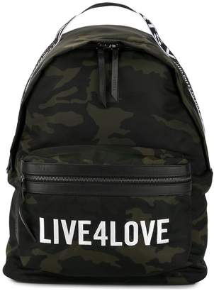 Live 4 Love camouflage print backpack