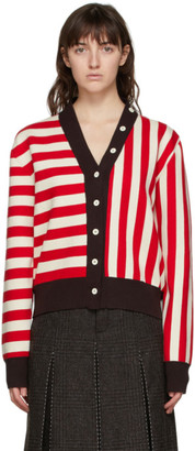 Sunnei Red and Off-White Twinset Cardigan