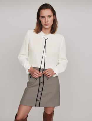 Maje Guipure collar shirt with velvet link