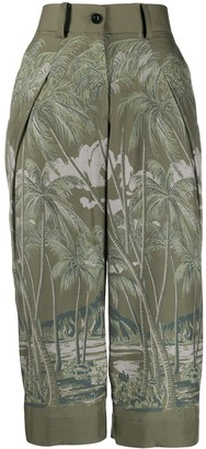 Sacai Cropped Length Palm Print Trousers