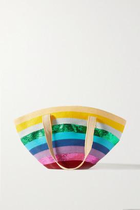 Mary Katrantzou MARY-MARE Over The Rainbow Metallic Striped Woven Tote - Pink