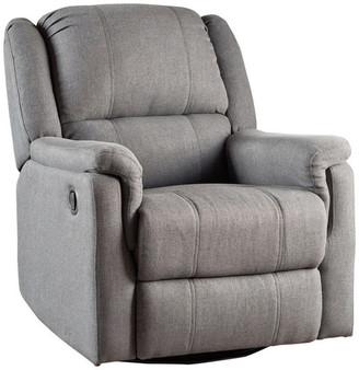 Gdfstudio GDF Studio Jemma Tufted Fabric Swivel Gliding Recliner Chair, Charcoal