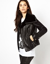 Only Aviator Jacket Wih Faux Fur Lining - Black