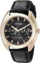 Citizen Men's 'Dress' Quartz Stainless Steel and Leather Casual Watch, Color: (Model: BU4013-07H)