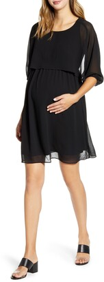 Maternal America Ruffle Overlay Maternity/Nursing Dress