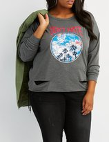 Charlotte Russe Don't Hate Destroyed Graphic Sweatshirt
