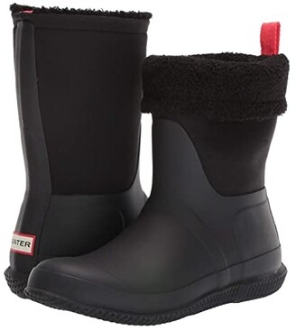 Hunter Roll Top Sherpa Snow Boot (Black) Women's Rain Boots