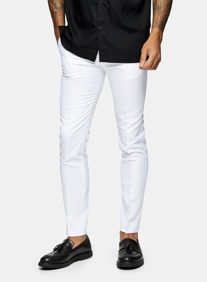 Topman White Skinny Fit Suit Trousers