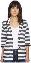 Tribal Stripe Roll Up 3/4 Sleeve Boyfriend Jacket Women's Coat
