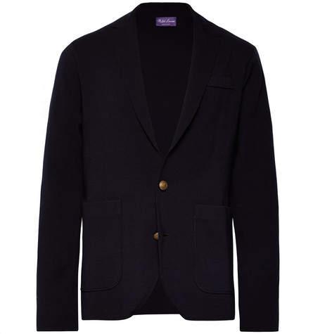 Ralph Lauren Purple Label Midnight-Blue Unstructured Merino Wool Blazer