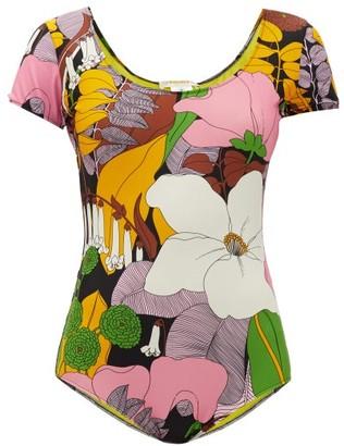 La DoubleJ Short-sleeved Big Flower-print Swimsuit - Pink Print