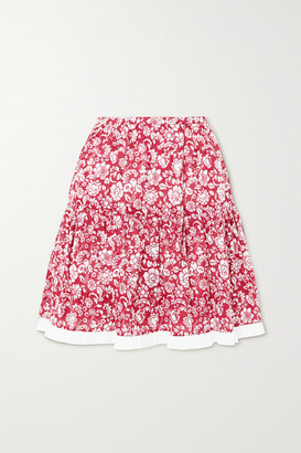 See by Chloe Tiered Broderie Anglaise-trimmed Floral-print Cotton Mini Skirt - FR42