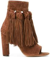 Chloé fringed open toe booties - women - Leather/Suede - 36