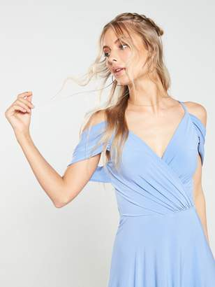 Very Occasion Cold Shoulder Jersey Maxi Dress - Powder Blue