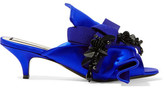 No.21 No. 21 - Embellished Knotted Satin Mules - Royal blue
