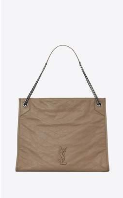 Saint Laurent Niki Large Shopping Bag In Crinkled Vintage Leather