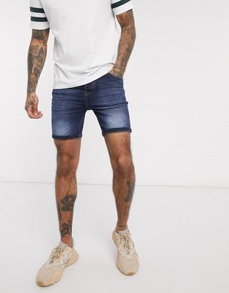 Brave Soul denim skinny fit shorts in dark wash blue