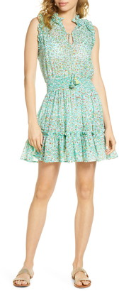 Poupette St Barth Ruffle Floral Metallic Cover-Up Dress