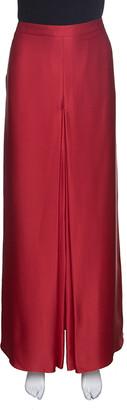 Carolina Herrera Red Silk Satin Front Slit Detail Maxi Skirt L
