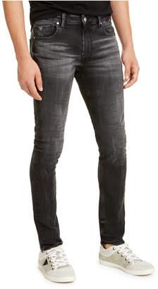GUESS Men Skinny-Fit Black Crinkle Jeans