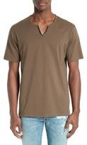 The Kooples Men's Gazed Faux Leather Trim T-Shirt