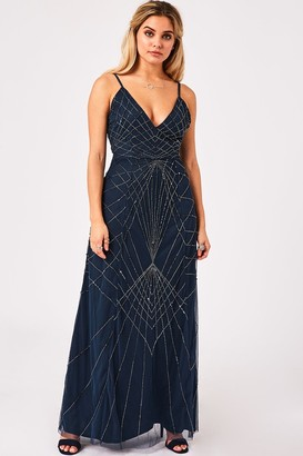Little Mistress Rubin Petrol Blue Deco Embellished Maxi Dress