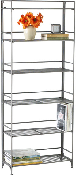 Container Store 6-Shelf Iron Folding Bookcase Pewter