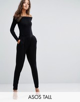 ASOS Tall ASOS TALL Bardot Peg Leg Jumpsuit With Long Sleeve