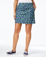 Karen Scott Petite Lemon-Print Chambray Skort, Created for Macy's