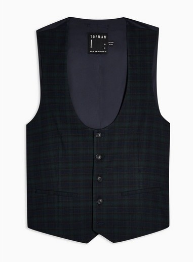 Topman Mens Navy And Green Check Super Skinny Fit Suit Waistcoat