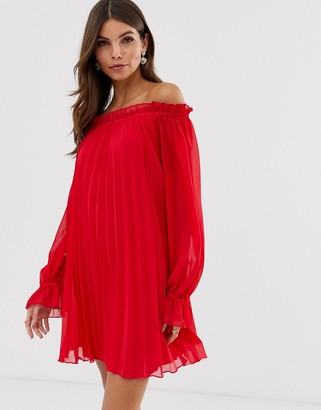 Asos Design DESIGN off shoulder pleated trapeze mini dress-Red