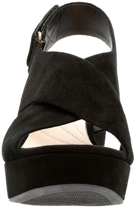 Clarks Maritsa Lara Suede Wedge Sandals - Black